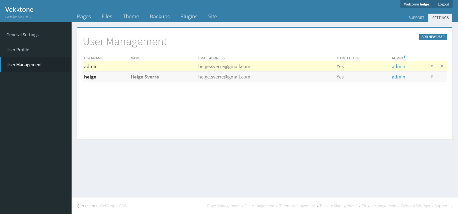 User management in GetSimple CMS